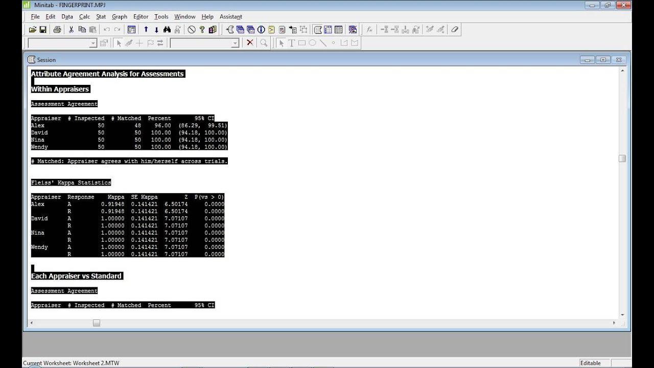 Ex1 Attribute Agreement Analysis With Binary Data Youtube