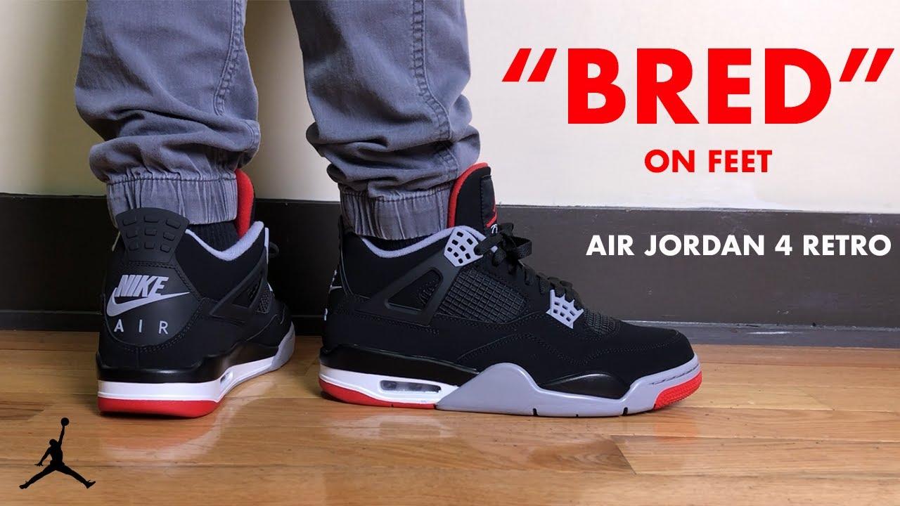 Air Jordan 4 Retro Bred On Feet Review