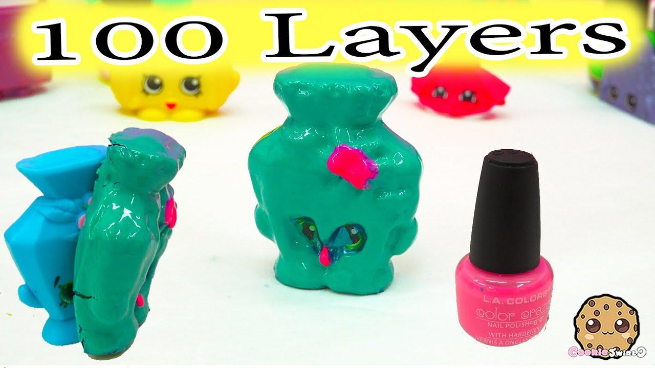 100 Layers Coats Of Nail Polish On Big Mcdonalds Happy Meal Shopkins Toy Youtube
