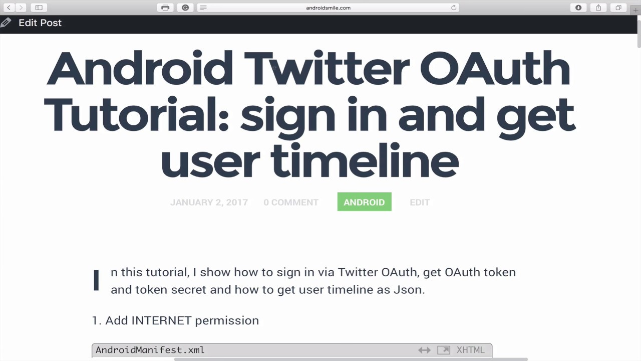 Android twitter oauth tutorial sign in and get user timeline part android twitter oauth tutorial sign in and get user timeline part 1 baditri Gallery