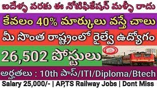 Railway 26,502 Posts Recruitment Notification 2018 | Railway RRB ALP 2018 | job search thumbnail