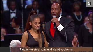 Trauerfeier für Aretha Franklin: Pastor berührt Brust von Ariana Grande