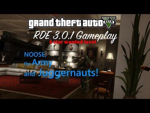 GTA V - RDE 3.0.1 Random Gameplay (6 star wanted level, the Army and Juggernauts)