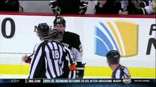 Matt Cooke chirping at Rick Nash on Rangers' bench April 5 2013 NY Rangers vs Pittsburgh Penguins