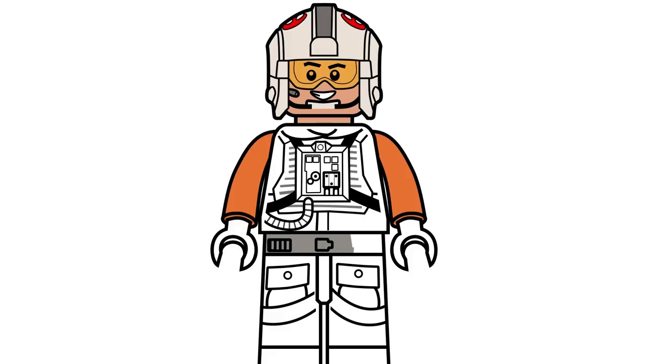 New How To Draw Lego Luke Skywalker Pilot From Star Wars Coloring