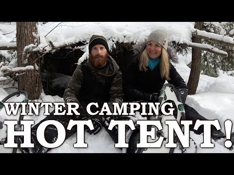 BRAVING the WILD NORTH with a GIRL in a HOT TENT | Survival Shelter & OUTTAKES!!! | PART 2
