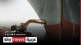 استمرار جهود تعويم السفينة الجانحة بقناة السويس.