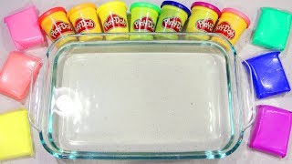 Mixing Play Doh & Soft Clay into Satisfying Ultra Clear Slime!