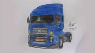 Caminhão VW Constellation Tractor - Desenho rápido - Drawing