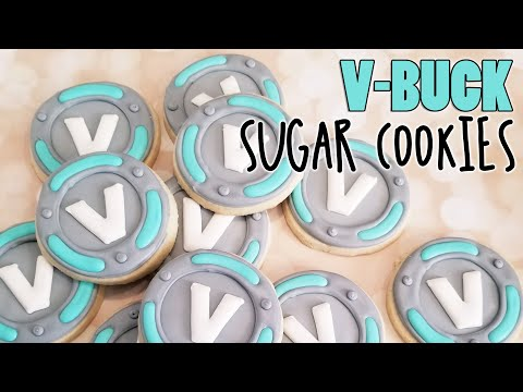 V-Buck Fortnite Sugar Cookies on Kookievision by Sweethart Baking Experiment