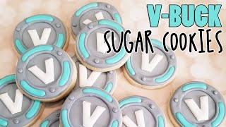 V-Buck Fortnite Sugar Cookies sur Kookievision par Sweethart Baking Experiment