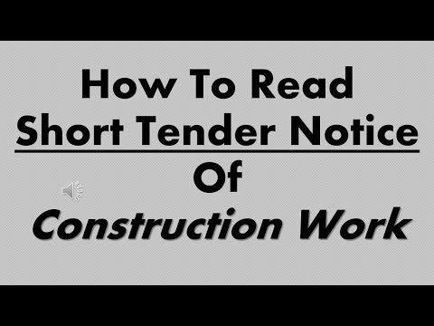 HOW TO READ SHORT TENDER NOTICE OF CONSTRUCTION WORK || CIVIL WORK TENDER NOTICE