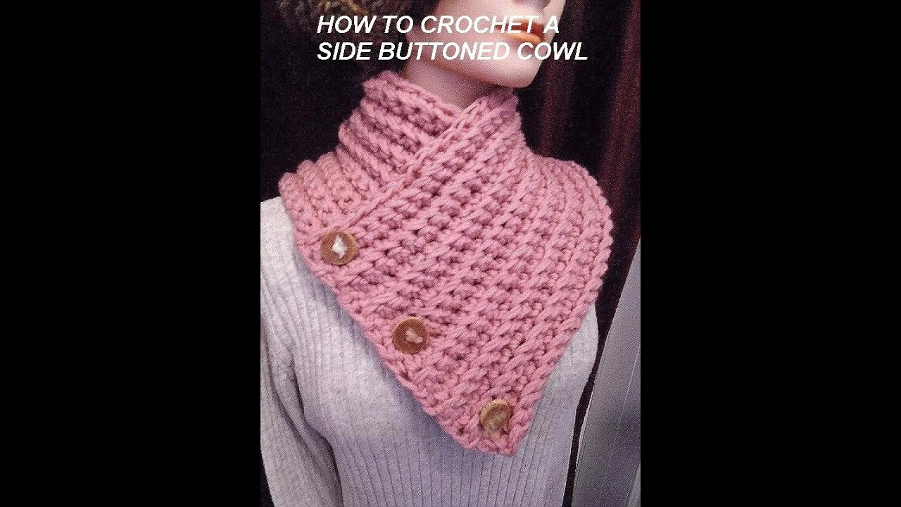 How To Crochet Scarfs : How to crochet A BUTTONED WRAP SCARF COWL, crochet pattern, vid # 979 ...