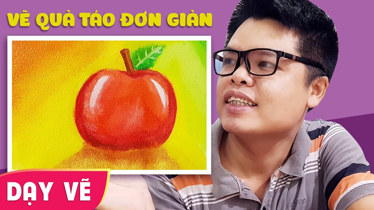 Dạy vẽ quả táo đơn giản ♥ How to draw an Apple ♥