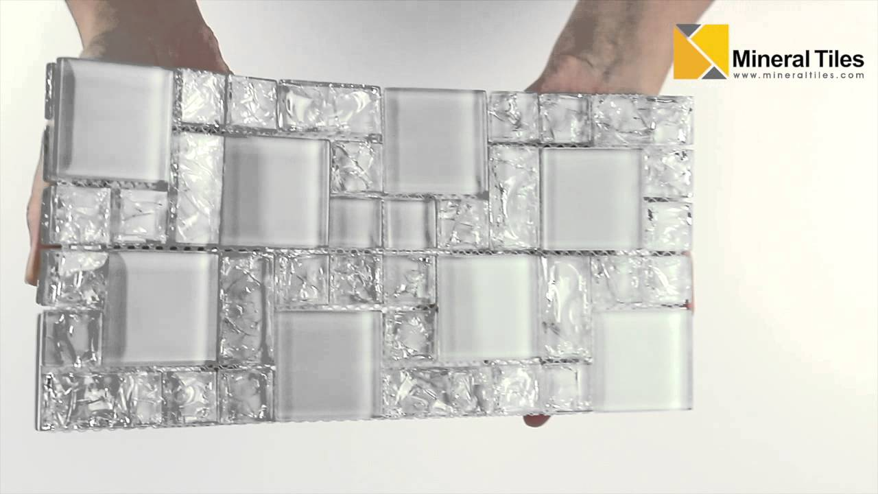 Beau Crackled Glass Mosaic Tile French Pattern Ice   230HLM48192   YouTube
