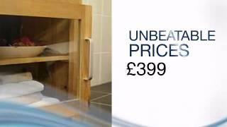 Kingstowe 650mm Solid Oak Bathroom Vanity Unit Furniture Cabinet Glazed Door 1 Drawer Basin & Tap -