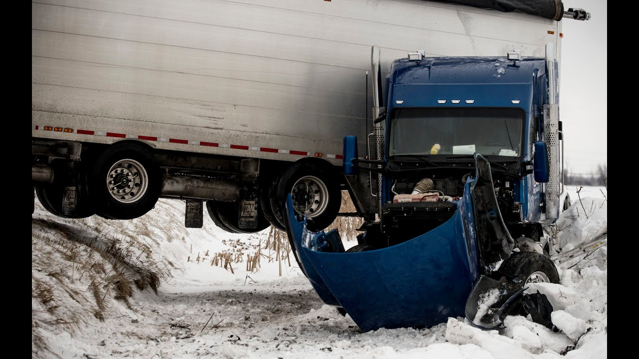 Semi-tractor trailer jackknifes on M-25