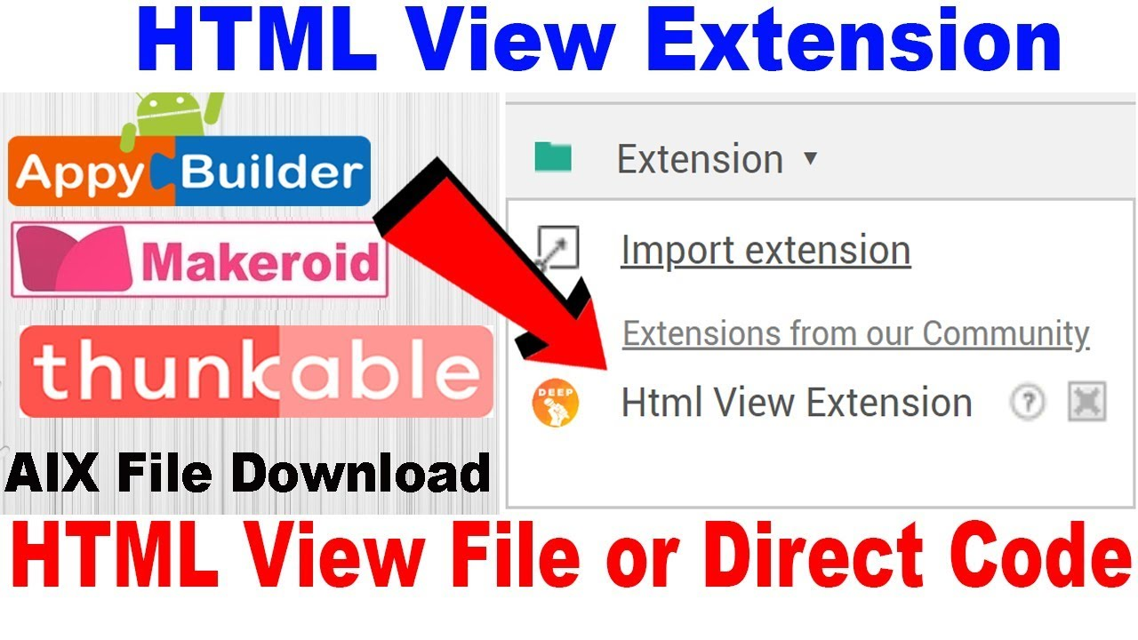 HTML View Extension | HTML View File or Code | Thunkable | Appybuilder |  Makeroid