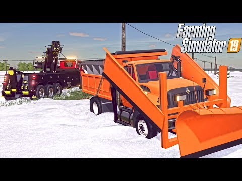 50 TON WRECKER RESCUE | DOT SNOWPLOW STUCK | FARMING SIMULATOR 2019