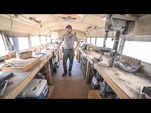 Full Tour - Workshop & Rustic Cabin School Bus Conversion - Mobile Income Workflow Explained
