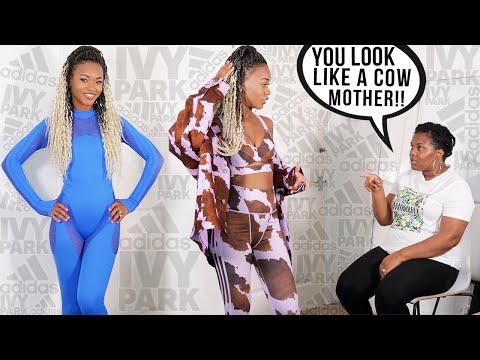 BEYONCE, I LOOK LIKE A COW!!   MY JAMAICAN MOM RATES MY IVY PARK X ADIDAS OUTFITS ♡ @Tashika Bailey