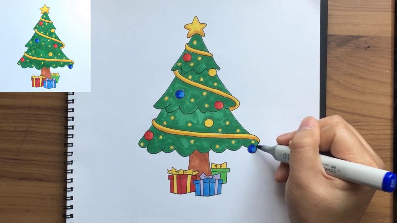วาดรูปต้นคริสต์มาส, Drawing Christmas Tree, Merry Christmas