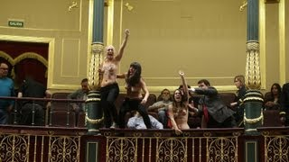 FEMEN topless women protest in Spain