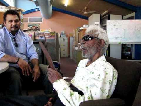 Senior elder Ned Cheedy visits Yindjibarndi office