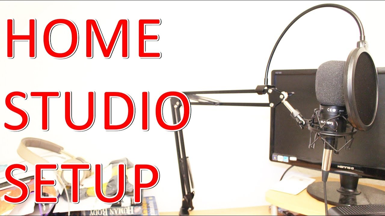 home studio set up technica at2020 mic shock mount microphone stand pop filter windscreen foam. Black Bedroom Furniture Sets. Home Design Ideas