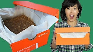 SHOEBOX CAKE - How to Bake a Cake in a CARDBOARD BOX
