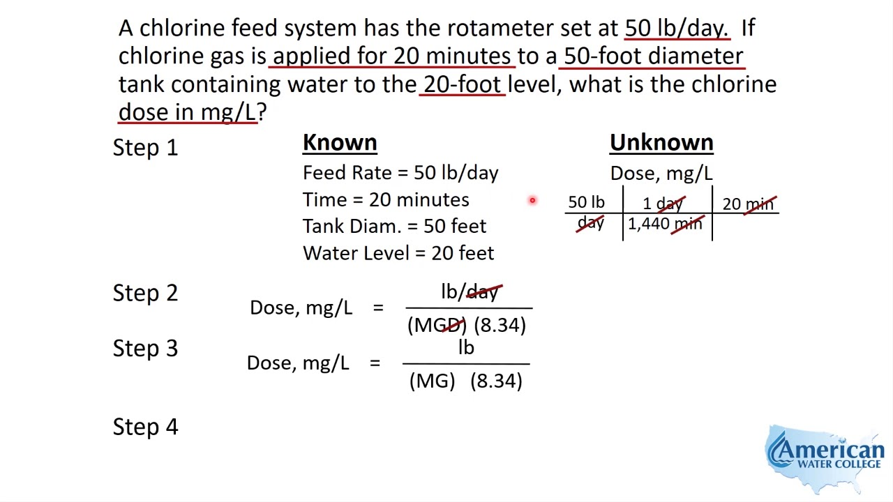 Water Treatment Math | Chlorine Dose Calculation