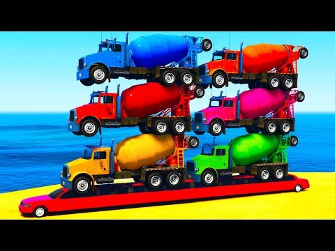Thumbnail: COLORS TRUCKS on LONG Car & Spiderman for Kids in Color Cars Cartoon for Toddlers w Nursery Rhymes