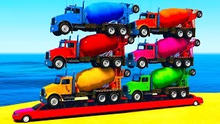 COLORS TRUCKS on LONG Car & Spiderman for Kids in Color Cars Cartoon for Toddlers w Nursery Rhymes