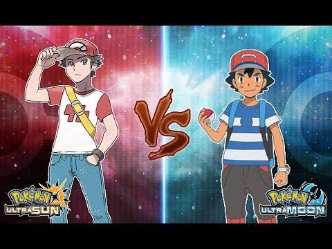 Pokemon Ultra Sun And Ultra Moon: Red Vs Ash (Ash All Region Team)