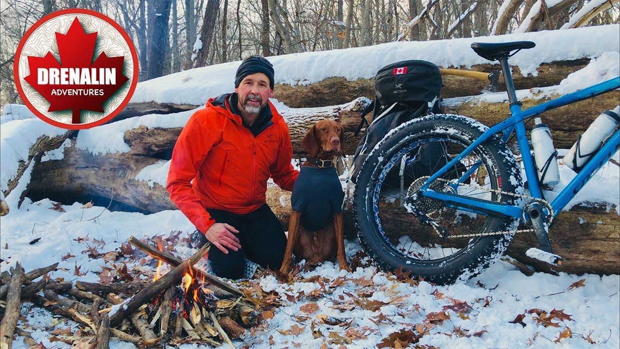 WINTER BIKEPACKING with my Dog - Camping OVERNIGHT in the ...