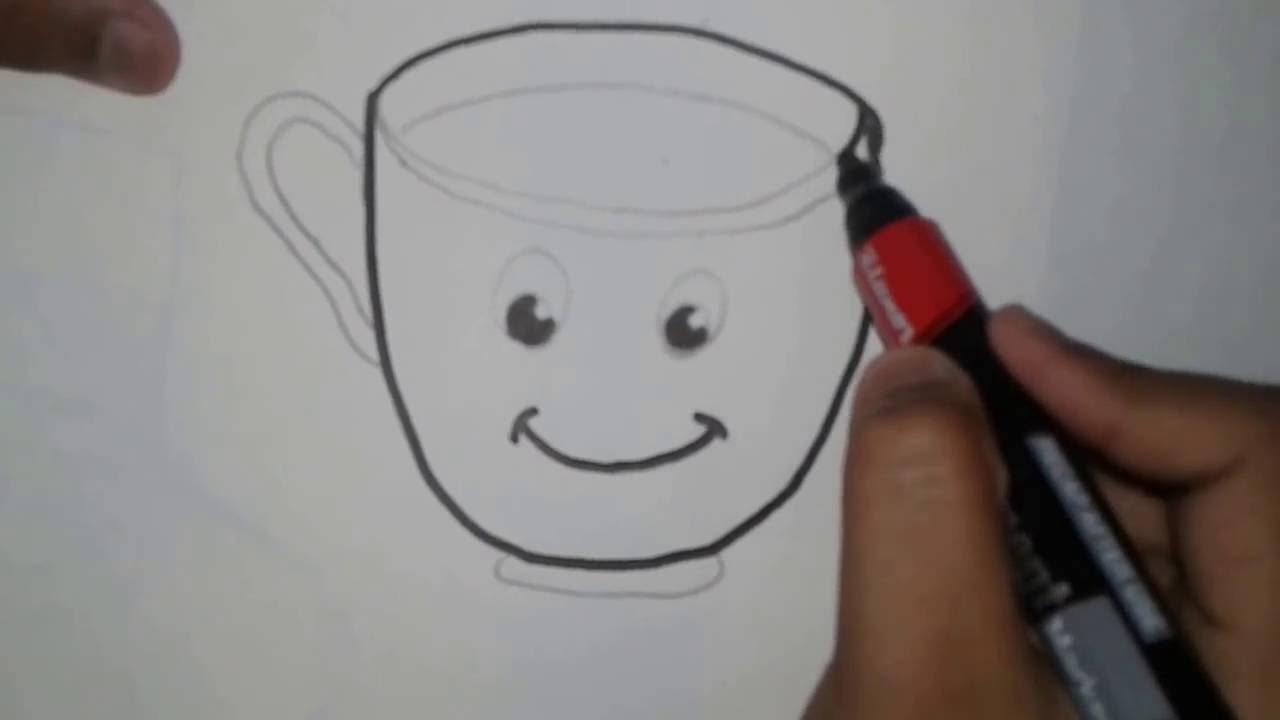 Online Drawing Tutorial How To Draw A Cup For Nursery Kids Youtube