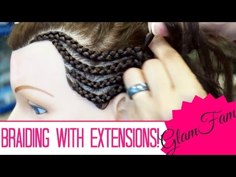 How to Cornrow With Weave / Extensions For Beginners!