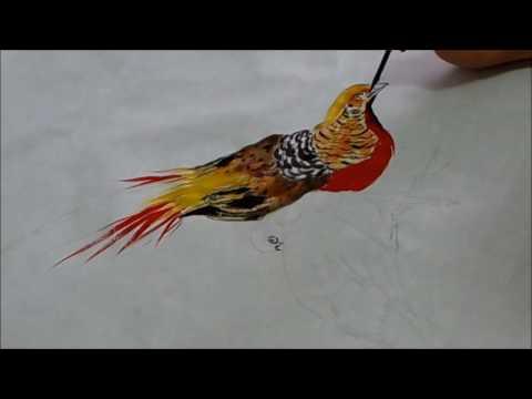 20160806陳永浩CHEN YUNG HAO老師授課Ink and color PAINTING 畫金雞&牡丹 Painted rooster & peony