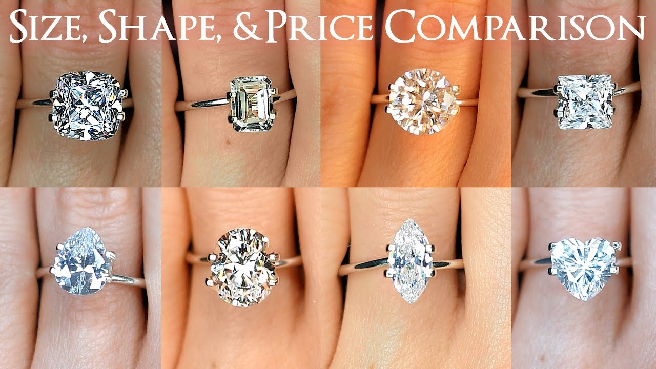 Engagement Ring Diamond Size Comparisons For All Shapes Oval Round Princess Cushion More