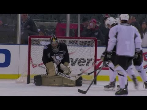 Marc-Andre Fleury Wears Go-Pro at Soldier Field