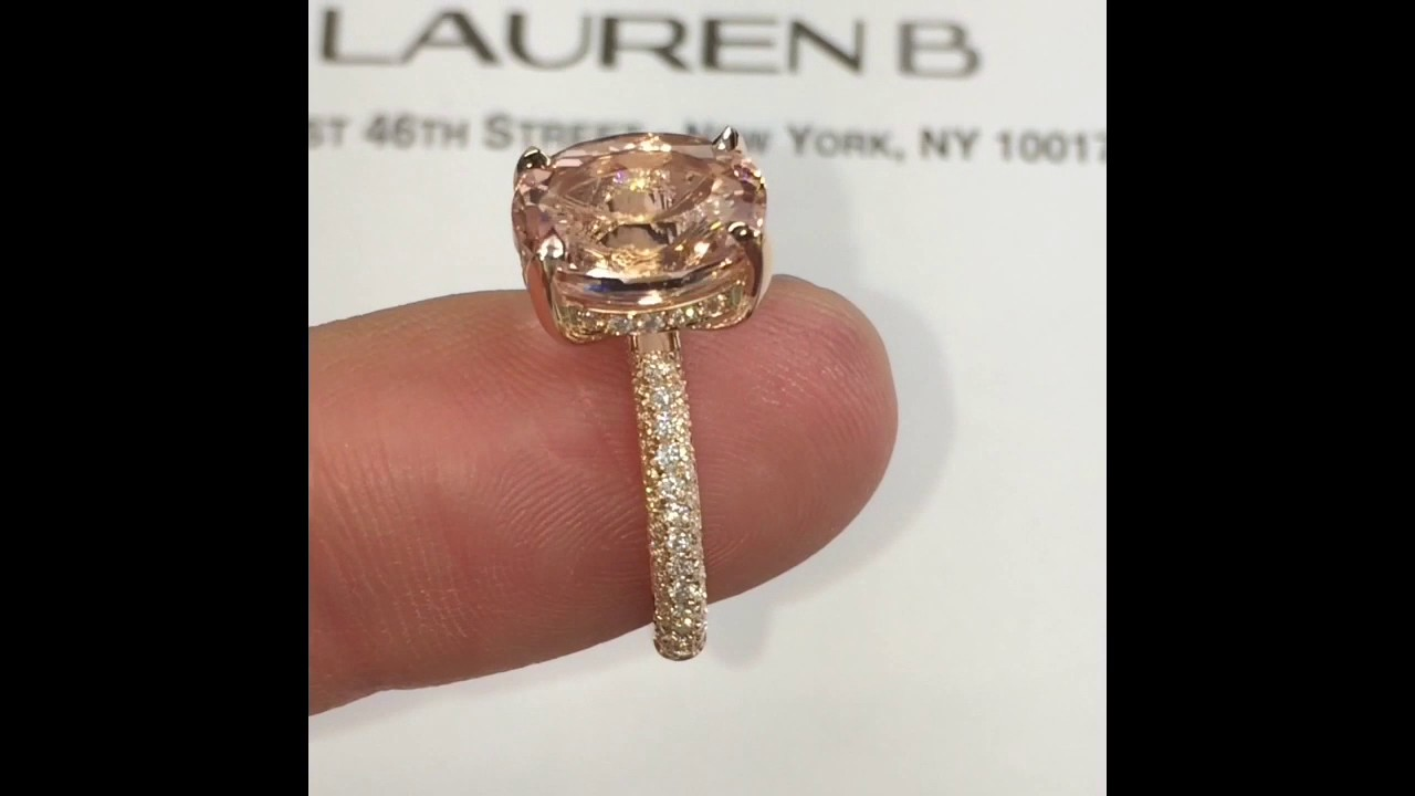 4 Carat Oval Morganite Engagement Ring Lauren B Jewelry