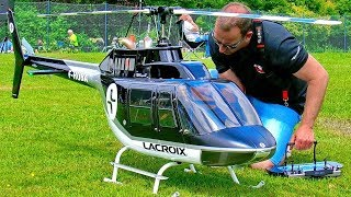 HUGE XXL RC BELL-206 JETRANGER SCALE MODEL ELECTRIC HELICOPTER FLIGHT DEMONSTRATION