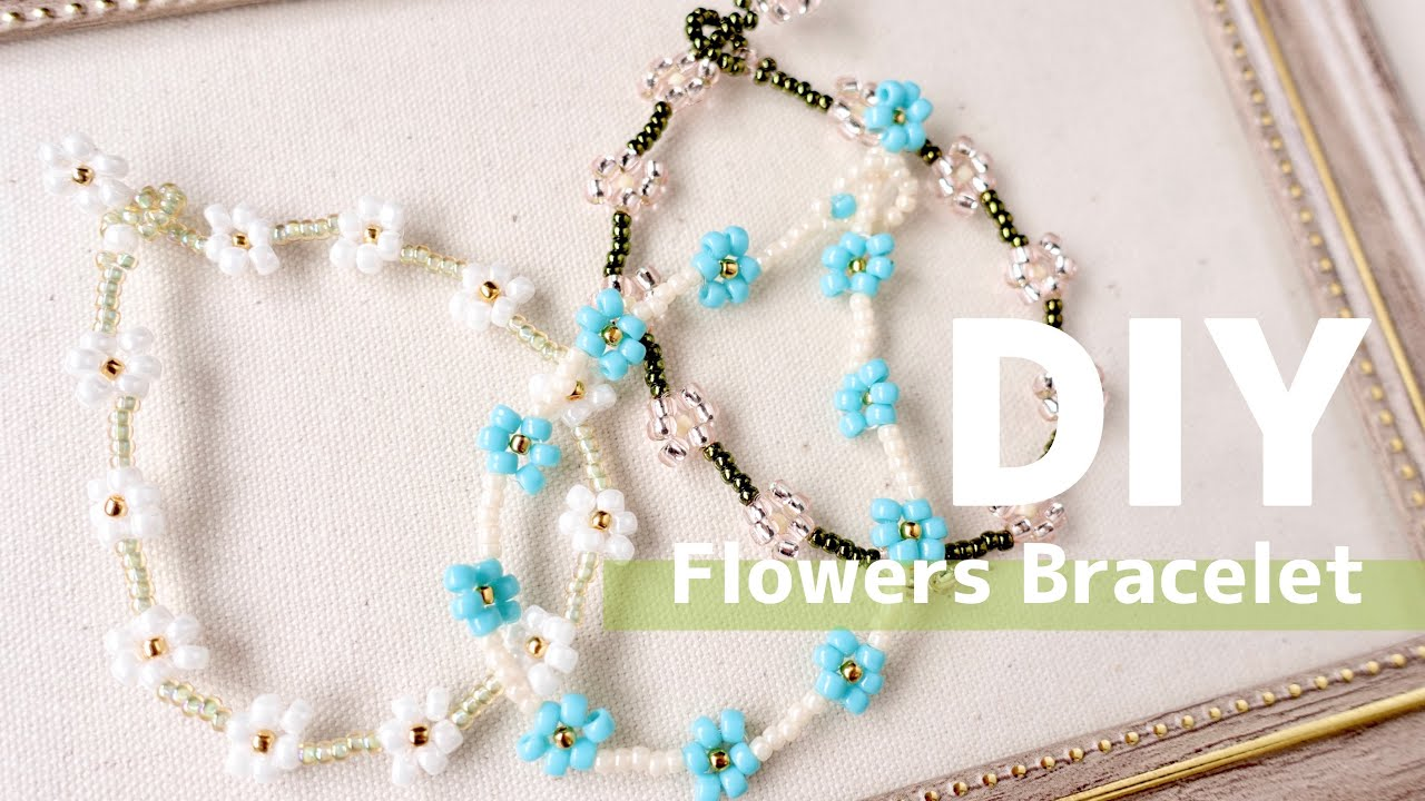 【金具不要】ビーズとテグスだけで作る!お花のブレスレット🌼…🌼…🌼 DIY| Seed beads Flowers Bracelet tutorial|How to make ビーズアクセサリー