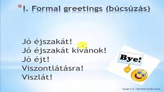 Hungarian for Beginners - 2.  Greeting and saying goodbye in formal and informal situations