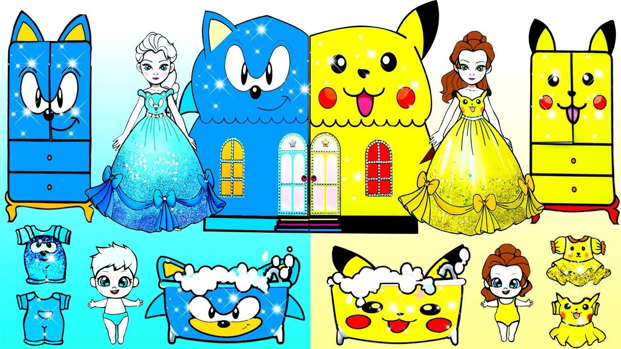 Paper Dolls Dress Up - Blue Sonic Vs Yellow Pikachu New House Handmade Papercraft- Woa Doll Channel