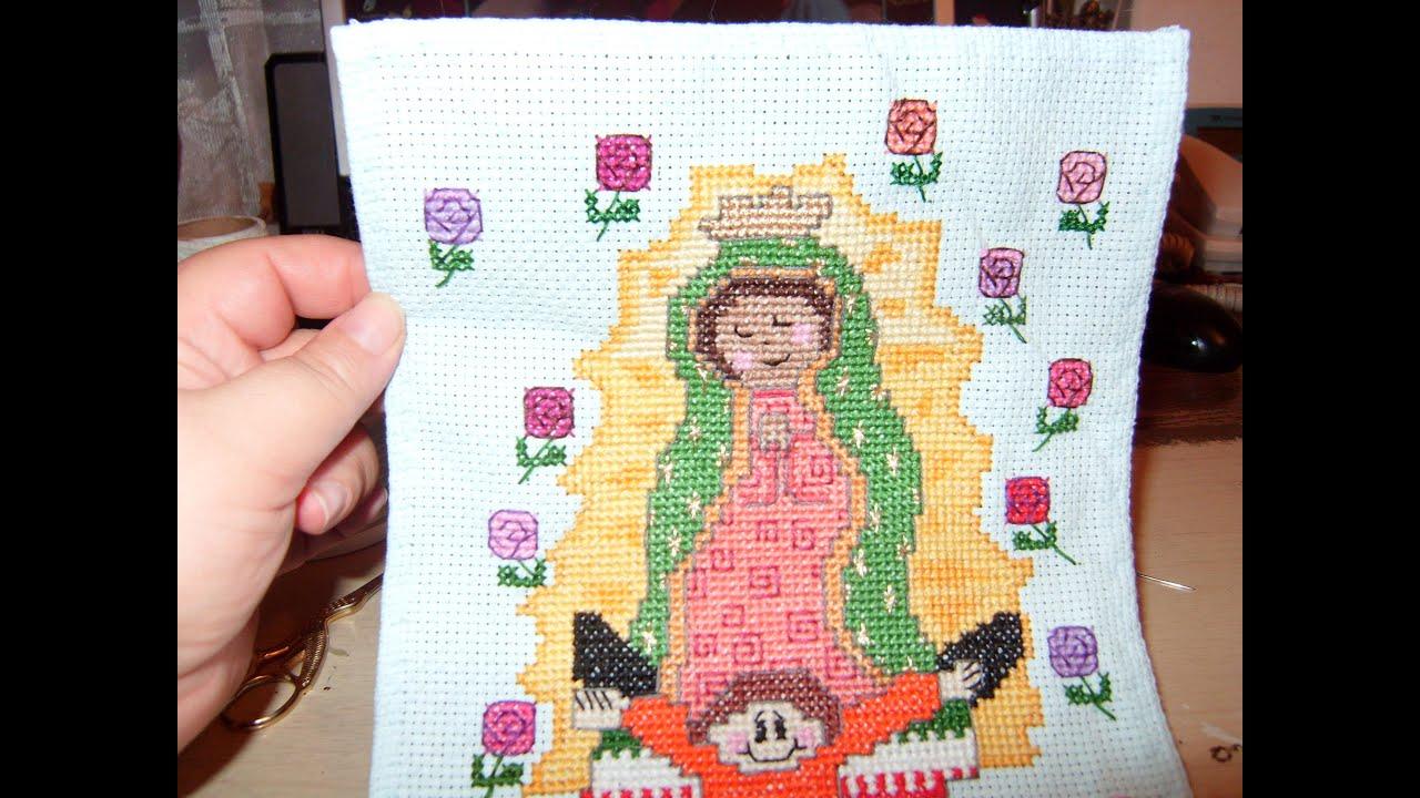 Tutorial Virgen en punto de cruz con colores de la Virgen