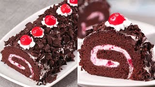 BLACK FOREST SWISS ROLL CAKE I SWISS ROLL CAKE ON TAWA l EGGLESS & WITHOUT OVEN