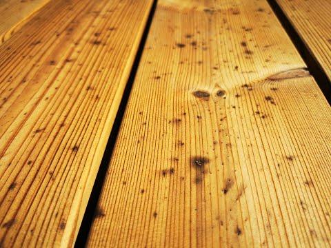 Metalo dulkių dėmių išvalymas iš Termo su WOCA deep cleaner   Cleaning metal dust spots from wood