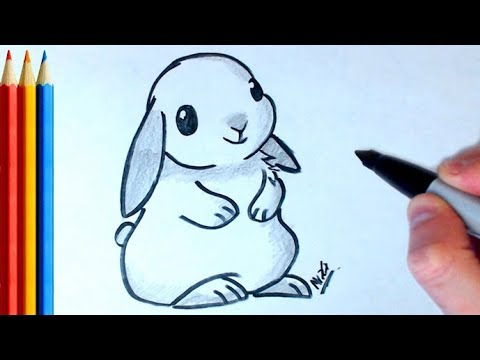 how to draw snow bunny step by step tutorial youtube