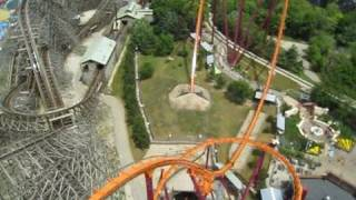 Raging Bull Front Seat on-ride POV Six Flags Great America